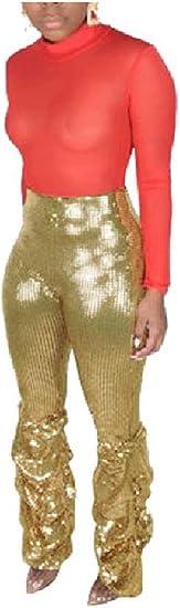 Tootess Women's Sequin Glitter Draped Nightclub Style Over Waist Sexy Pants