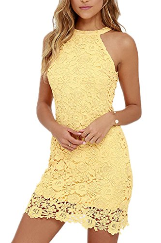 Top Vestiti Eleganti Pizzo Slim Festa Yellow Le Estate Mini Vestito Donne TEzwq5xPR