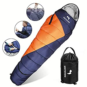 WhiteFang Sleeping Bag with Compression Sack,Lightweight and Waterproof for Adults Cold Weather,4 Season Mummy Sleeping Bags Great for Hiking, Backpacking,Camping(Blue)