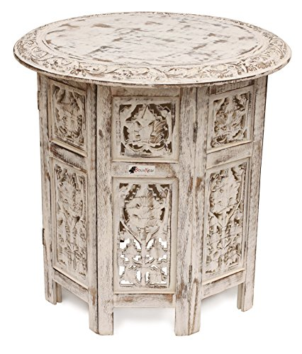 SouvNear Handmade Shabby Chic Wooden Side Table in White Color Distressed Finish - Crafted in Folding Design with a Round Top - Decorated with Floral Carving on the Top & Jaali Carving on the Legs