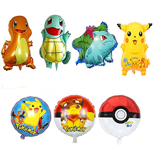 Anime Ninja Girl Costume (Pokémon Balloons | Pikachu Bulbasaur Charmander Squirtle Pokemon Go | Party Supplies |Pack of 7 Balloons | Party Supply | Large 26