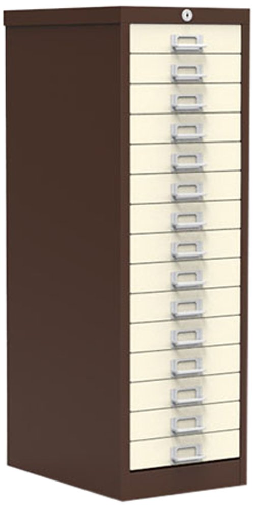 Simply Office MULT15DBRB 15 Drawer Locking Multi-Drawer - Brown/Beige