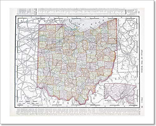 Barewalls Antique Color Map of Ohio, Oh, United States USA Paper Print Wall Art (8in. x -