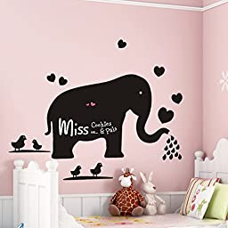 ORDERIN Christmas Gift Wall Decal Blackboard Teach Sticker Big Elephant Removable Mural Wall Stickers Art for Children Nursery Home Decor