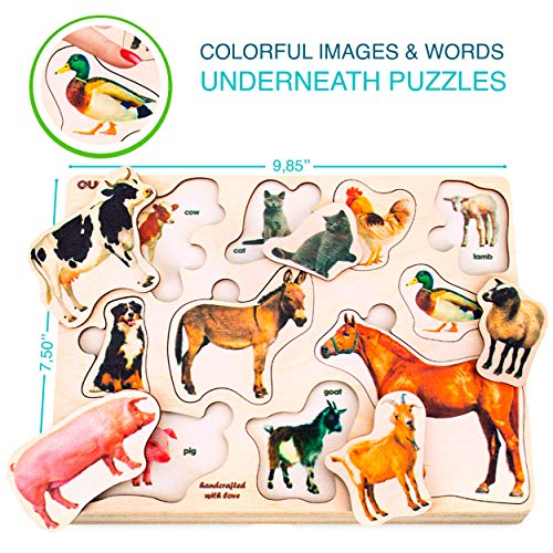 Wooden Puzzles for Toddlers 1-3 by Quokka – 3 Educational Matching Games for Kids Ages 2-4 – Montessori Wood Toy for…