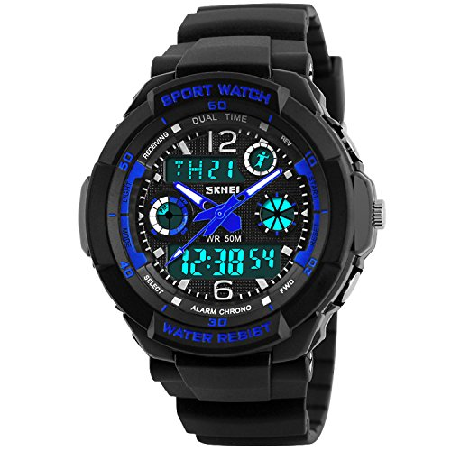 Takyae Children Kid Watches LED Digital Quartz Watch Boy And Girl Student Multifunctional Waterproof Wristwatches S - Blue