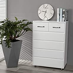 Bedroom Henf 6 Drawers Dresser, Modern White Chest of Drawers Storage Cabinet Wooden Storage Chest for Bedroom, Living Room…