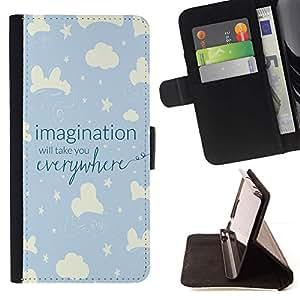 For HTC One Mini 2 M8 MINI Case , Sky Night Kid Estrellas azules Nubes- la tarjeta de Crédito Slots PU Funda de cuero Monedero caso cubierta de piel