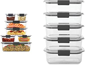 Rubbermaid Brilliance Storage 14-Piece Plastic Lids | BPA Free, Leak Proof Food Container, Clear & Brilliance Food Storage Container, BPA free Plastic, Medium, 3.2 Cup, 5 Pack, Clear