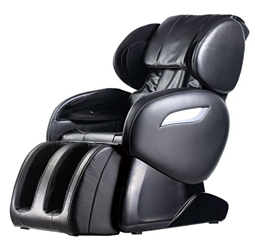 (Zero Gravity Full Body Electric Shiatsu UL Approved Massage Chair Recliner with Built-in Heat Therapy and Foot Roller Air Massage System Stretch Vibrating for Home Office PS4,Black)