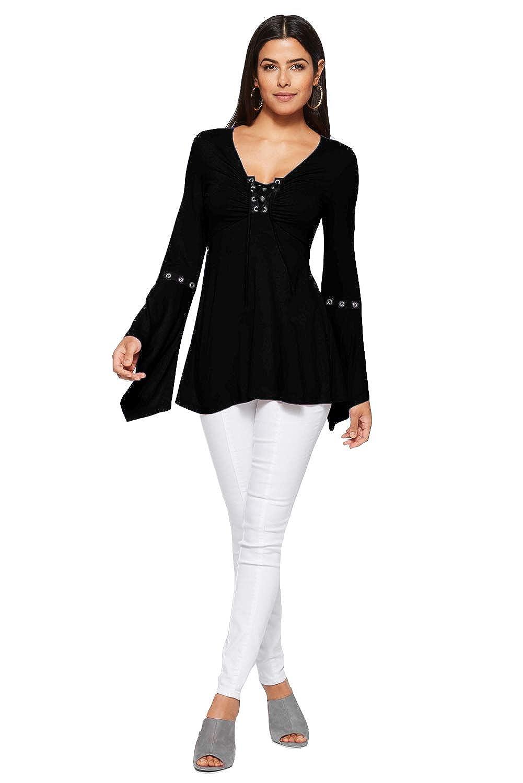 Blusa Scollo V Donna Camicetta Maniche a Campana Svasata Maglietta Ragazza Tumblr Pieghe Maglia Taglie Forti Pullover Autunno Inverno Moda Tunica Tee Tops Basic T Shirt Tinta Unita Sweatshirt Slim Fit