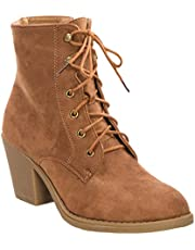 OLIVIA K Women's Leather Lace Up Mid Heel Ankle Boot Bootie