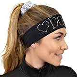 Stretch Is Comfort Girl's DANCE Rhinestone Wide Cotton Headband White