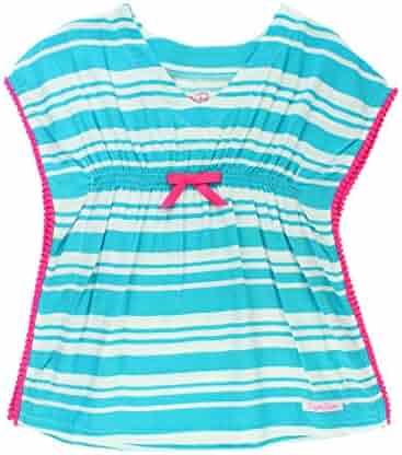 8a57b92a74df RuffleButts Little Girls Woven Kaftan Pom Pom Poncho Swimsuit Cover-Up