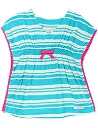 7408359564a91 Little Girls Woven Kaftan Pom Pom Poncho Swimsuit Cover-Up