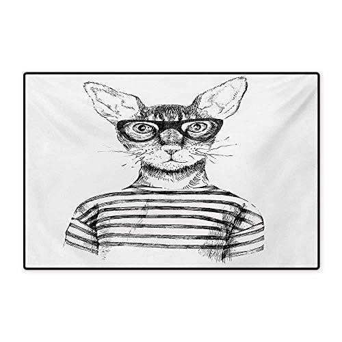Cat Door Mat Indoors Hand Drawn Dressed Up Hipster New Age Cat Fashion Urban Free Spirit Artwork Print Floor Mat Pattern 32