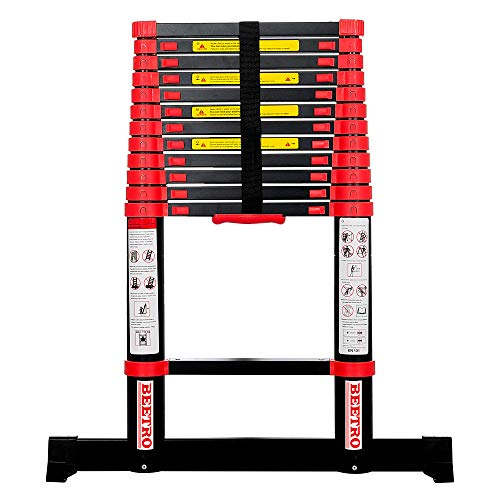 BEETRO 12.5ft Aluminum Telescoping Ladder, Extension Folding Ladder, for Roofing Business, Outdoor Working, Household…