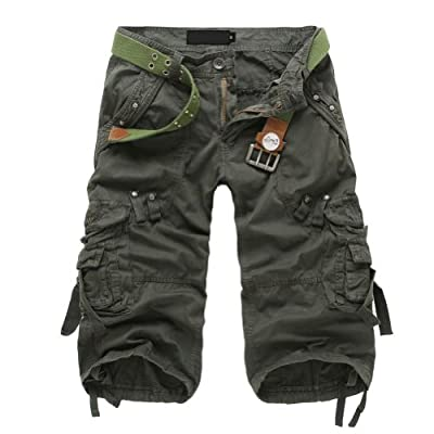 Juanshi Fathers Day Men's Cotton Casual Cargo Short Color Army Green