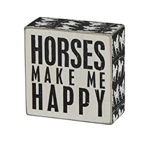 Primitives by Kathy Square Box Sign, 4-Inch, Horses