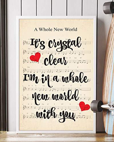 Trendora Decor A Whole New World Song Lyrics Portrait Poster Print (16