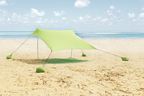(ALPHA CAMP Beach Shade Portable Canopy Sun Shelter with Sandbag Anchors - 7.6' x 7.2' Green)