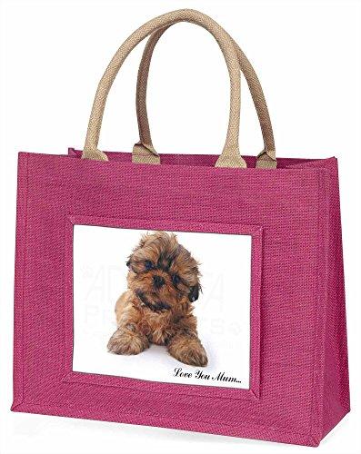 Advanta Shih-Tzu Hund Große Einkaufstasche/Weihnachtsgeschenk, Jute, pink, 42x 34,5x 2cm
