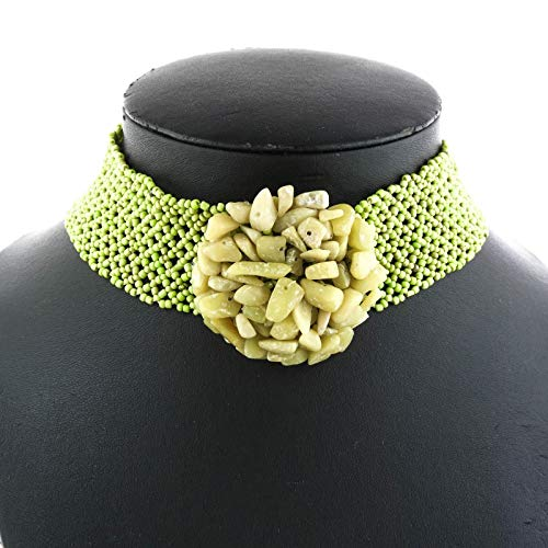 Jade GEMS Lime Green Seed Beads Choker Necklace YE-2352