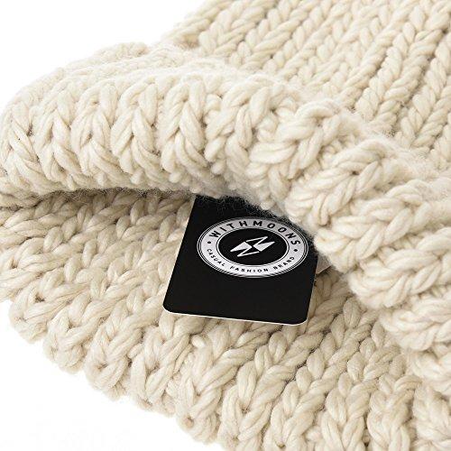 7ab8dc25a3d WITHMOONS Gorros de punto Knit Beanie Hat Basic Plain Thick Crochet Watch  Cap KR5911 Caliente de