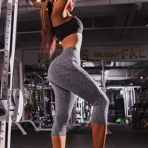 Grey Gysad Yoga Pants Knee Length with Pockets for Women Stretch Gym Sports Leggings Compression Workout Tights High Waist Tummy Control Fitness Running Tights Casual Slim Fit 3//4 Length
