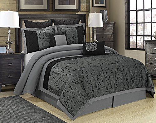 8 Piece Weistera Jacquard Tree Branches Comforter Sets Queen Dark Grey (Dark Grey Comforter Set)