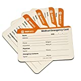5-Pack Designer Medical Information Alert Emergency ID Card Stock 40pt Paper with Sheath 2.1 x 3.4 inch Credit Card Size for Wallet