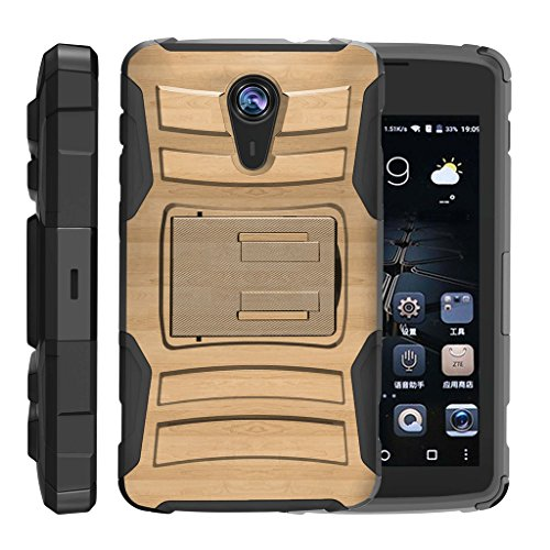 TurtleArmor | ZTE Uhura Case | ZTE Ultra Case | ZTE Quest Case | N817 [Hyper Shock] Hybrid Dual Layer Armor Holster Belt Clip Case Kickstand - Maple Wood