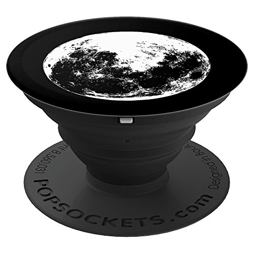 Full Moon Print Cool Astronomy Lunar Solar System Graphic - PopSockets Grip and Stand for Phones and Tablets by Solar System Cellz