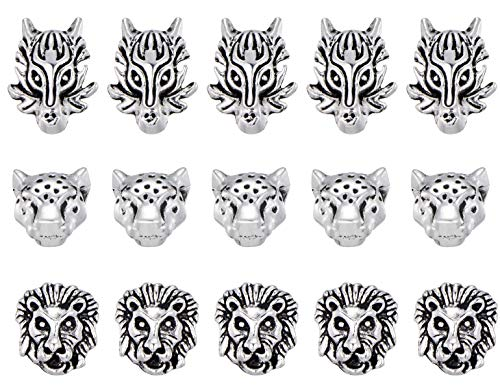 30 Mix Lion Leopard Dragon Head Beads Antique Tibetan Silver Spacer Beads Charm for Bracelet Necklace Jewelry - Leopard Head