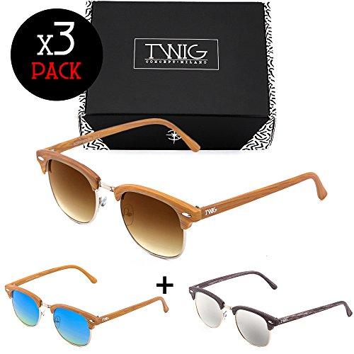 sol Pack Soft MASTER madera hombre Tres gafas mujer estilo de TWIG xq6EpCpwg
