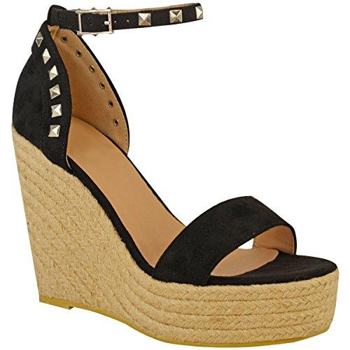 Suede Wedges Heel Womens Fashion Platforms Black Light Summer Size Esapdrille High Thirsty Gold Faux Ladies Stud Studded Sandals qX0X6C