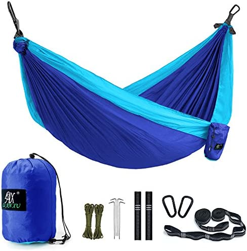 Camping Hammock, LAX Portable Double Durable Hammock Backpacking, Travel, Hiking, Beach, Yard, Multi-Functional Lightweight Nylon Parachute Hammocks Heavy Duty Straps Purple Blue