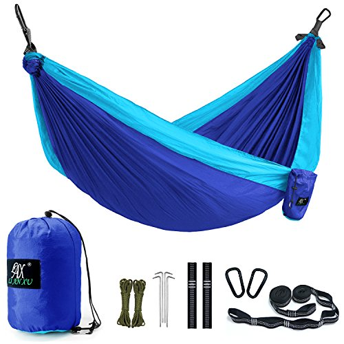 Camping Hammock, LAX Portable Double Durable Hammock for Backpacking, Travel, Hiking, Beach, Yard, Multi-Functional Lightweight Nylon Parachute Hammocks with Heavy Duty Straps (Blue/Sky Blue)