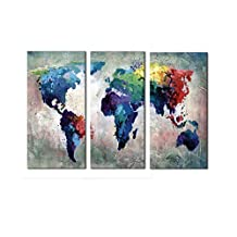 Melody Art-3 Piece Abstract Colorful Blue Watercolor World Map Decorative Wall Art Oil Painting on Canvas Modern Artwork Stretched and Framed for Home Bedroom Living Room Office Décor 40cmx60cm