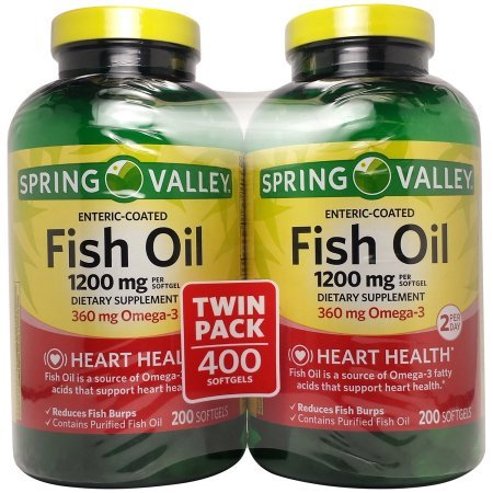 Spring Valley Fish Oil Dietary Supplement Softgels, 1200mg, 200 ct, 2 pk
