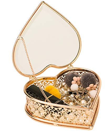 (Looife Heart Shape Jewelry Box, Handmade Gold and Glass Cosmetics Organizer for Girl's Keepsake )