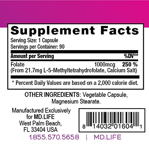 MD.LIFE L-Methylfolate 1 mg. 90 - Capsules- 5-MTHF Folate Supplement by MD.LIFE (Image #4)