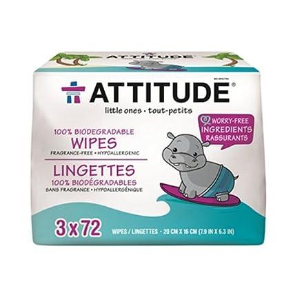ATTITUDE, Eco-Baby, 100% Toallitas Biodegradables, Sin Fragnancia, 3 paquetes