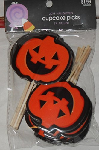 Halloween Cupcake Picks - 24 pieces - Jack O Lanterns]()