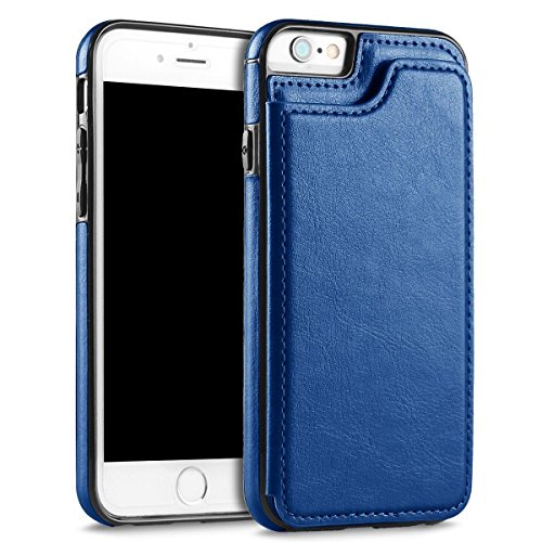 UEEBAI Case for iPhone 5 5S SE, Luxury PU Leather Case with [Two Magnetic Clasp] [Card Slots] Stand Function Durable Soft TPU Case Back Wallet Flip Cover for iPhone 5/5S/SE - Blue (Best Iphone 5 Card Case)