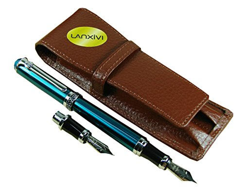 Lanxivi-Duke-Green-Fountain-Pen-Interchangeable-Calligraphy-Bent-Nib-Pen-Coffee-Leather-Pen-Case-Set