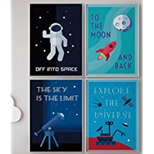 LIMITED EDITION: Kids Room Decor, Set of FOUR 11 x 17 Space Posters, Children Poster, Modern Art For Children / Canvas Wall Art, Comes Ready To Use! Retro Science, 4 Solar System, Classroom Posters.