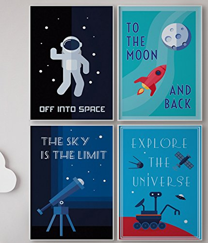 Wall Art Rocket (LIMITED EDITION: Kids Room Decor, Set of FOUR 11 x 17 Space Posters, Children Poster, Modern Art For Children / Canvas Wall Art, Comes Ready To Use! Retro Science, 4 Solar System, Classroom Posters.)