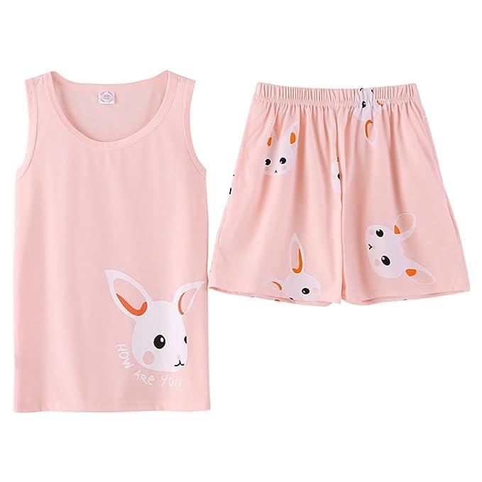 4f6f23b7c Jashe Tween Girls Summer Cotton Pajama Set Teens Cute Bunny Tank & Shorts  Sleepwear Big Girl