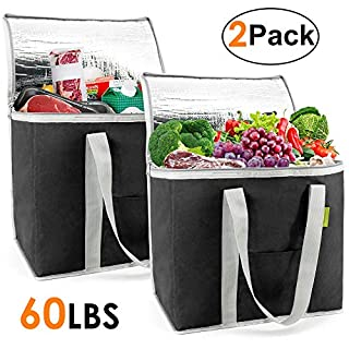 Insulated-Grocery-Bags-Shopping-Cooler-Thermal-Tote 2 Pack for Hot Cold Frozen Food Transport X-Large 60LBS Reusable and Durable with Zipper Top Long Handles Stands Upright Collapsible Black